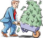 Businessman with Wheelbarrow Full of Cash